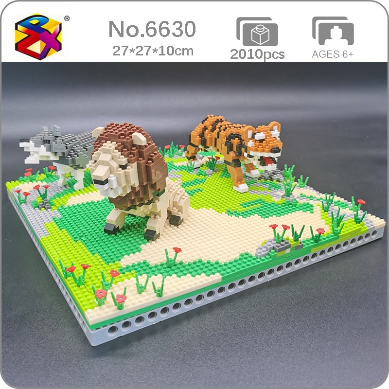PZX 6630 Animal World Lion Tiger Wolf Flower Meadow