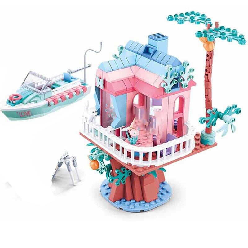 Sluban B0771 Pink Dream Wedding Tree House and Boat
